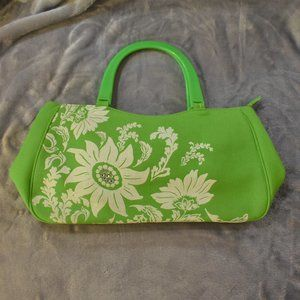 Lime Green and White Floral Handbag